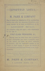 Advert For M. Parr & Company, Grocers